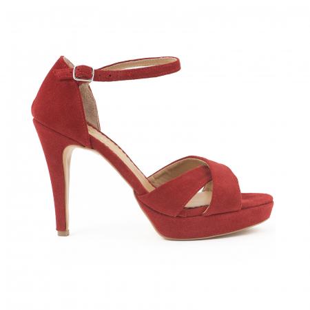 Sandale  cu platforma, din piele intoarsa rosie [0]