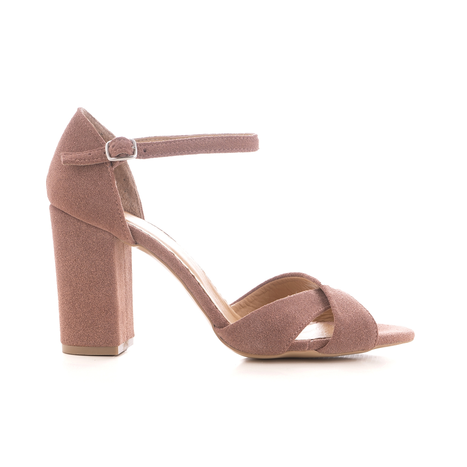 Sandale cu toc gros, din piele intoarsa bej si aurie