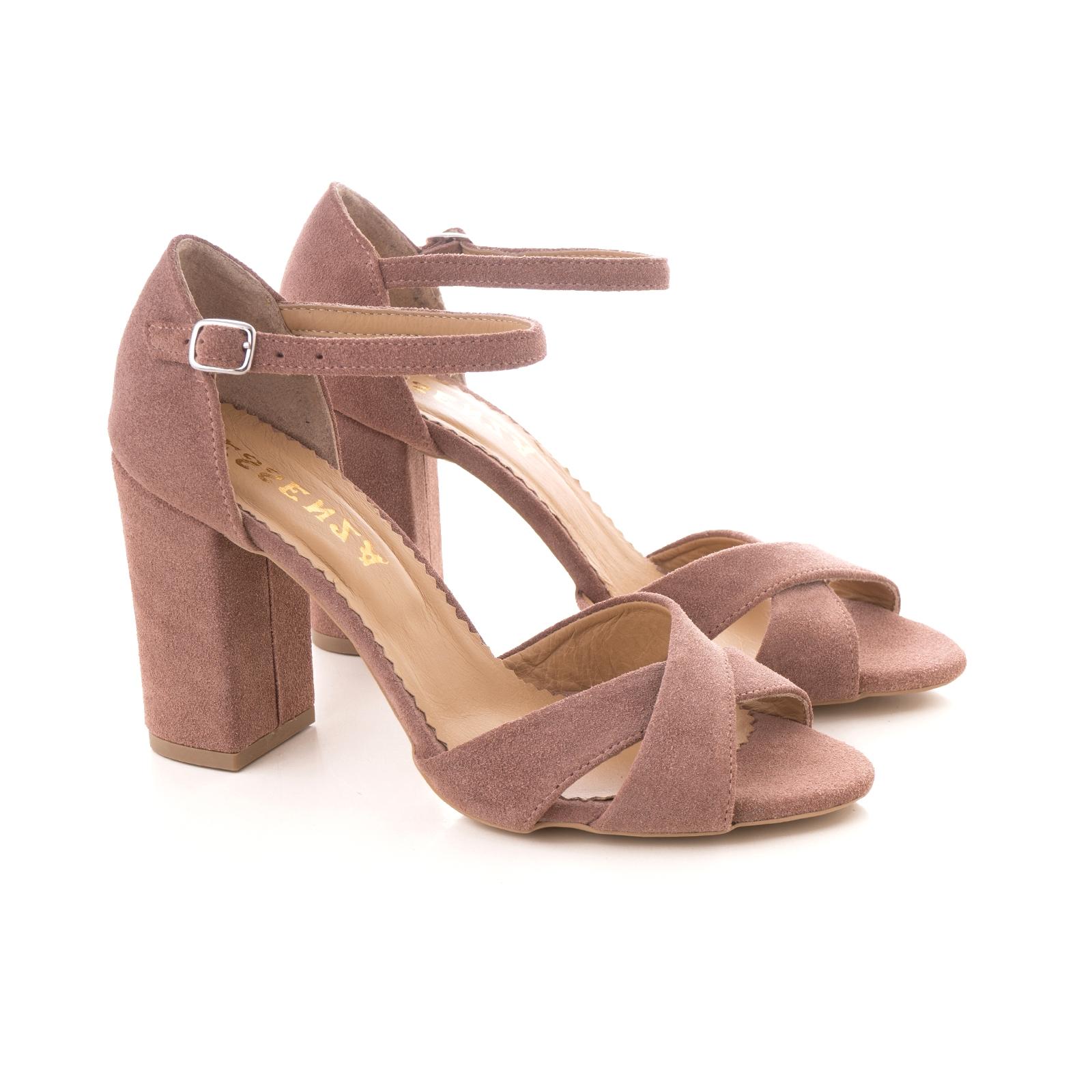 Sandale din piele intoarsa roz somon