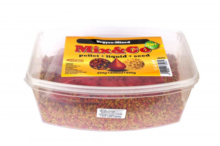 Timar Pelete MIX&GO Pellet Box 3 in 1 Capsuni (600g pelete + 600ml aroma + 600g seminte) 3