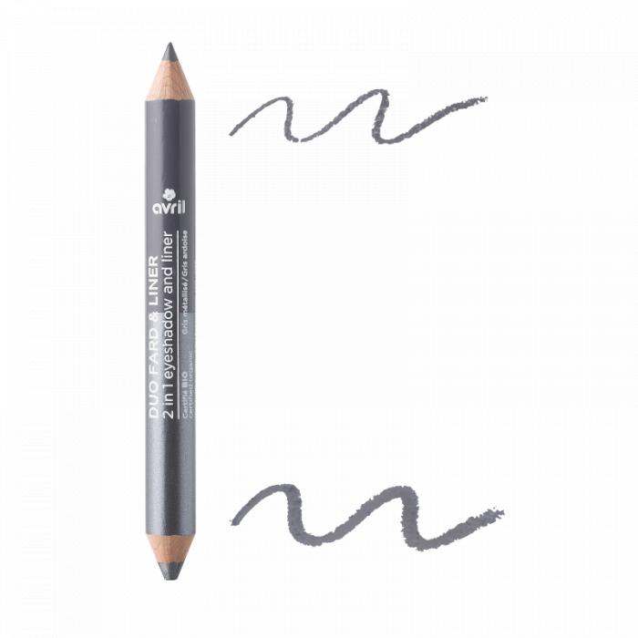 2 in 1 creion de ochi și fard de pleoape Gri ardezie & Gri metalizat | Avril 0