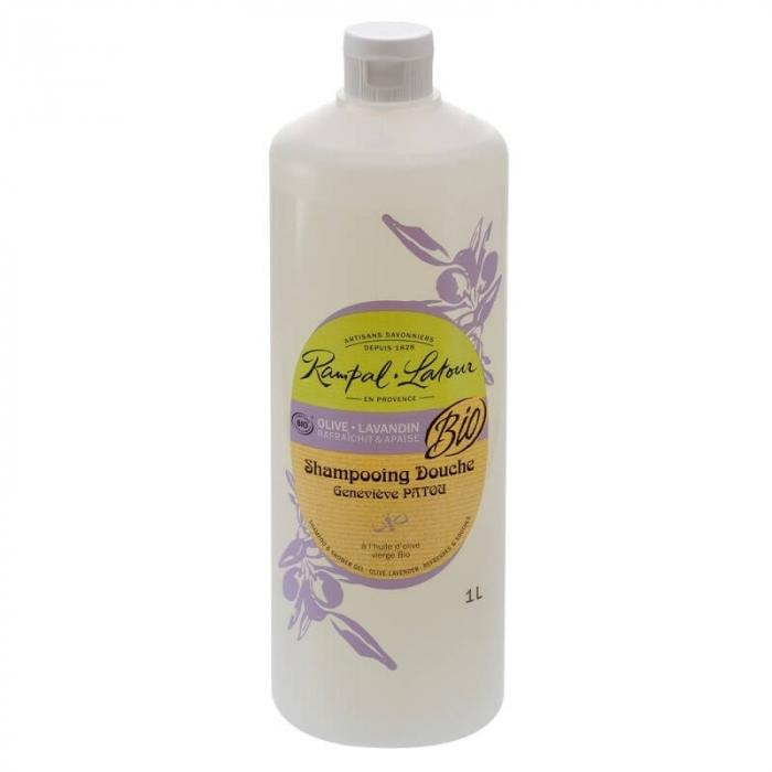 2 în 1 Șampon & gel de duș bio, Măsline și Lavandă | Rampal Latour, 1 litru 0