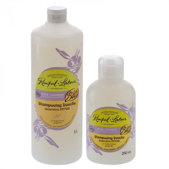 2 în 1 Șampon & gel de duș bio, Măsline și Lavandă | Rampal Latour, 1 litru 1