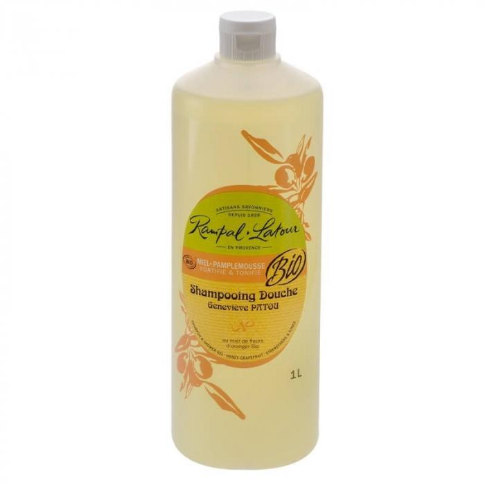 2 în 1 Șampon & gel de duș bio Miere și Grapefruit | Rampal Latour, 1 litru 0