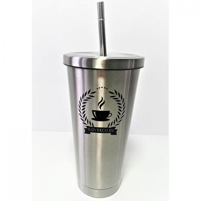 Cană termos din oțel inoxidabil + pai, argintie, 473 ml, I Love Eco 0