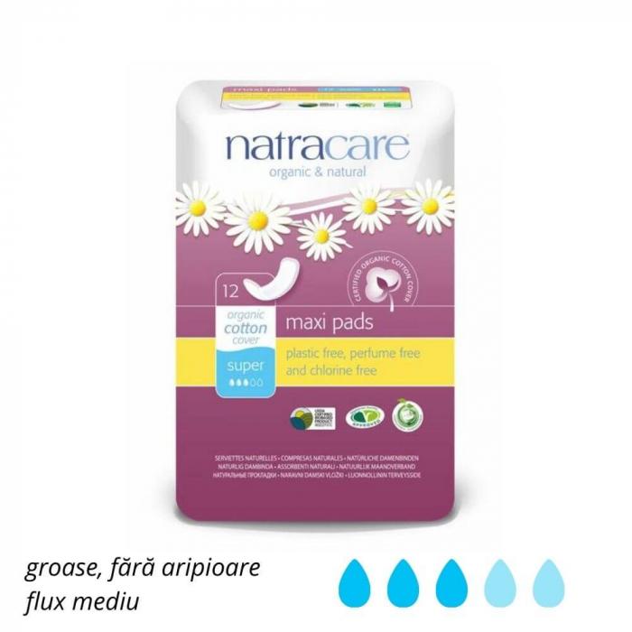 Absorbante bio fara aripioare Maxi Super | Natracare, 12 buc [1]