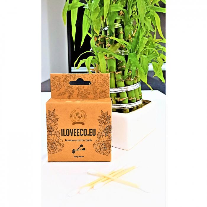 Bețișoare cosmetice din bambus și bumbac - cutie 100 bucăți | I Love Eco 1