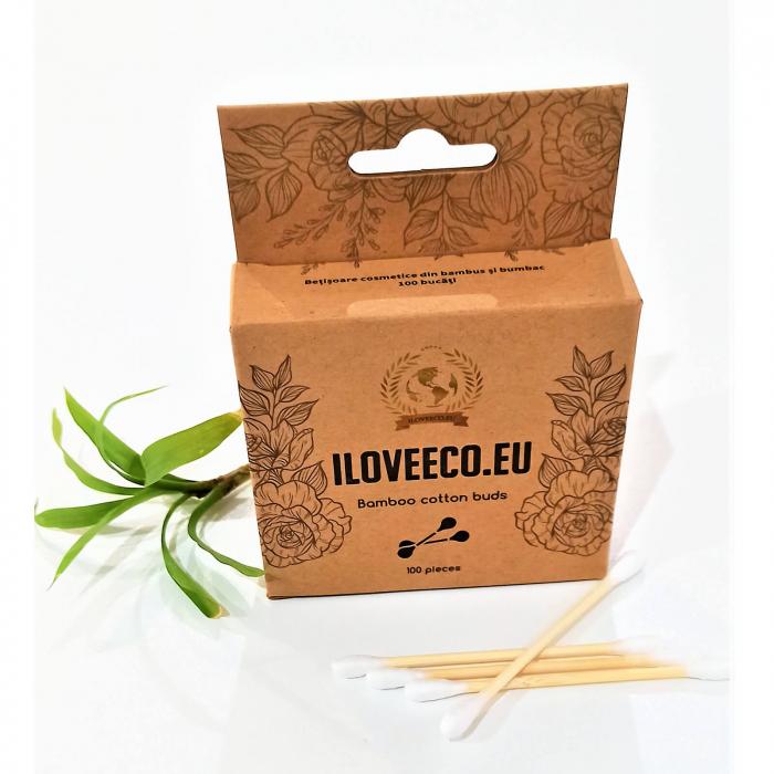 Bețișoare cosmetice din bambus și bumbac - cutie 100 bucăți | I Love Eco 2