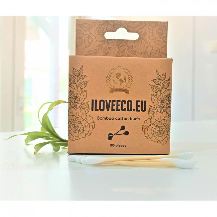 Bețișoare cosmetice din bambus și bumbac - cutie 100 bucăți | I Love Eco 0