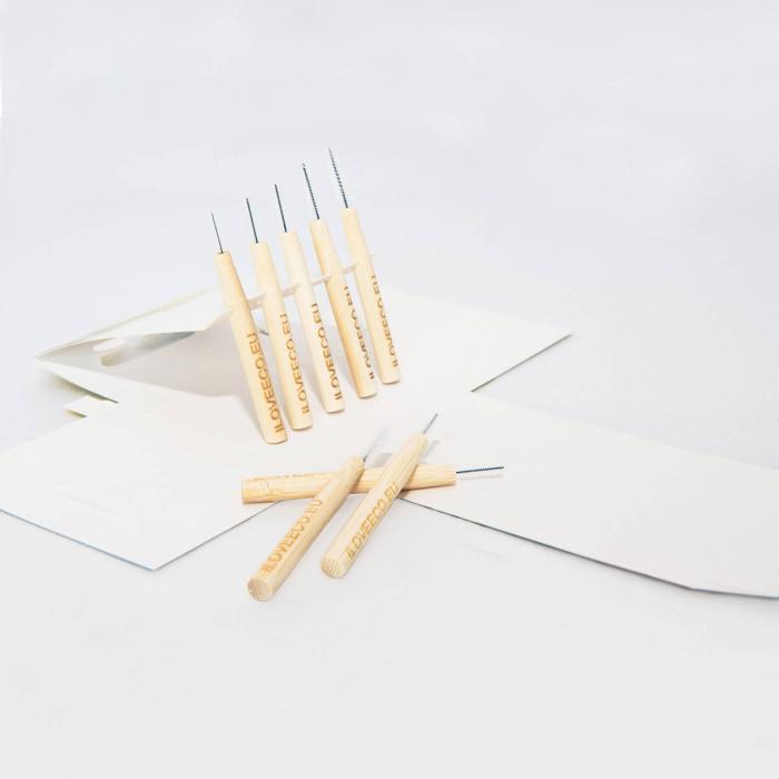 Periuțe interdentare din bambus, cutie cu 5 buc, toate mărimile, I Love Eco 4