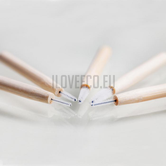 Periuțe interdentare din bambus, cutie cu 5 buc, 0.8 mm, I Love Eco 1