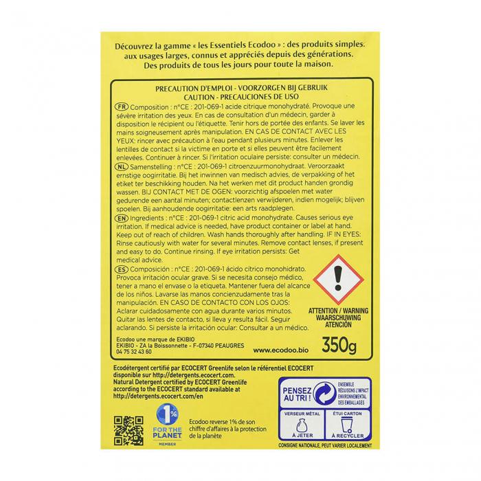 Acid citric monohidrat, detartrant & anticalcar | Ecodoo, 350g 1