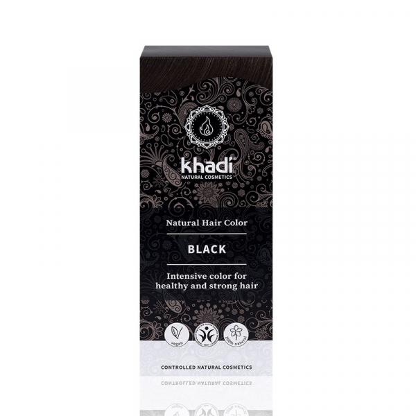 Black,vopsea  de par naturala - Negru, Khadi, 100g 1