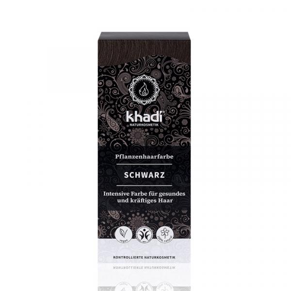 Black,vopsea  de par naturala - Negru, Khadi, 100g 0