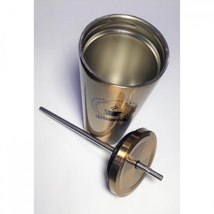 Cană termos din oțel inoxidabil + pai, aurie, 473 ml, I Love Eco 1