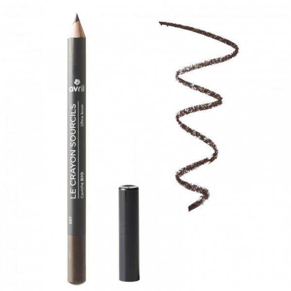Creion pentru sprâncene, certificat bio, Ultra Brun, Avril 0