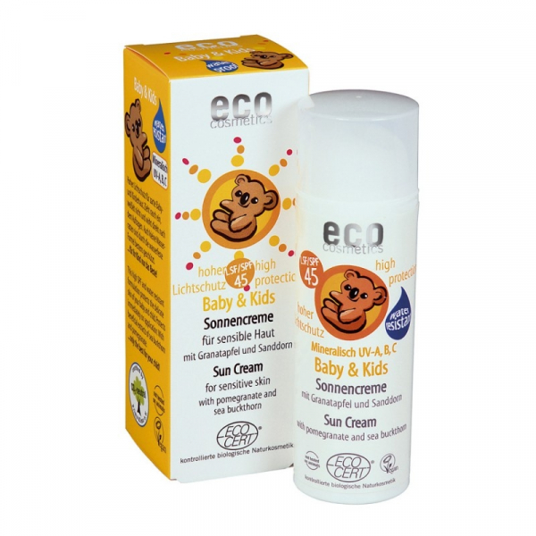 Crema bio protectie solara minerala bebe si copii, FPS45, Eco Cosmetics, 50ml 0