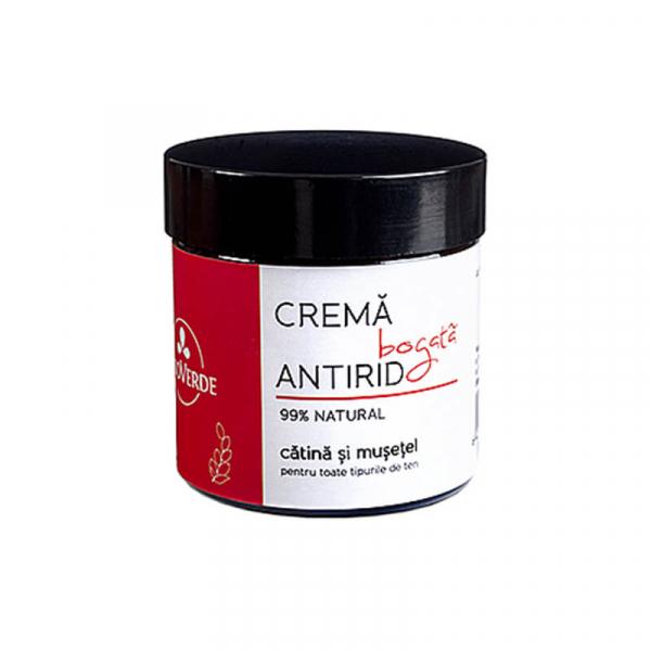 Crema bogata antirid pentru fata, cu Catina & Musetel, 99% naturala, Trio Verde, 60ml