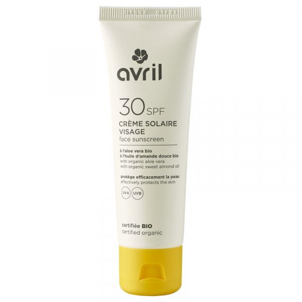 Crema solara pentru ten, SPF 30, certificata bio, Avril, 50 ml