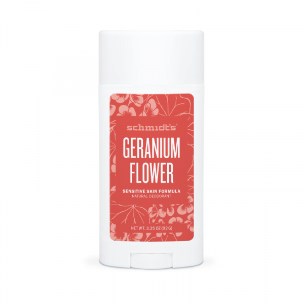 Deodorant natural & vegan Schmidt's, Sensitive Skin, Geranium Flower, Stick, 92g 0