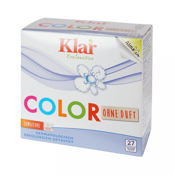 Detergent ecologic pudra COLOR, fara parfum, 27 spalari, Klar EcoSensitive, 1.375 kg