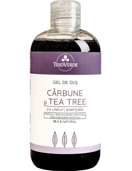 Gel de dus natural cu Carbune si Tea Tree, Trio Verde, 300ml 0