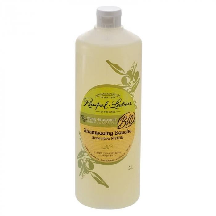 2 în 1 Șampon & gel de duș bio Salvie și Bergamota | Rampal Latour,  1 litru 0