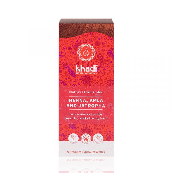 Henna, Amla & Jatropha, vopsea de par naturala - Rosu Mahon, Khadi 0
