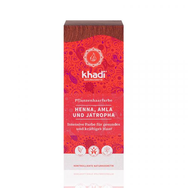 Henna, Amla & Jatropha, vopsea de par naturala - Rosu Mahon, Khadi, 100g 0