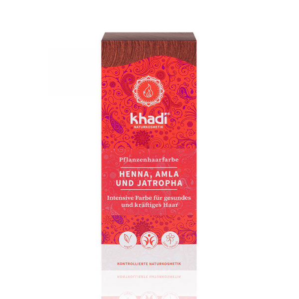 Henna, Amla & Jatropha, vopsea de par naturala - Rosu Mahon, Khadi 1