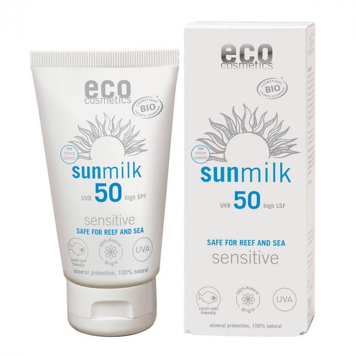 Lapte de plaja bio pentru piele sensibla, cu ulei de zmeura, FPS 50, Eco Cosmetics, 75ml 0