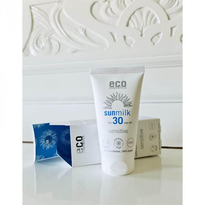 Lapte de plajă bio pentru piele sensibilă, cu ulei de zmeură, FPS 30, Eco Cosmetics, 75ml [2]