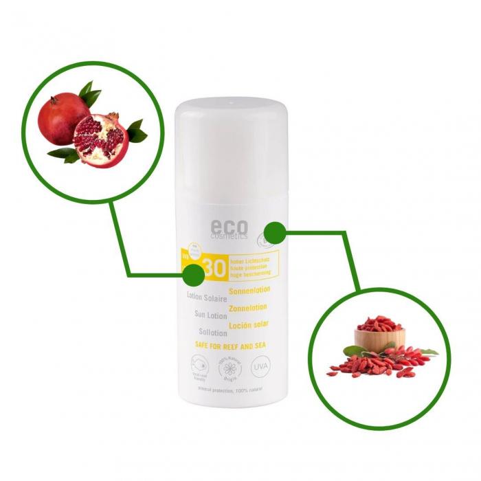 Lotiune fluida de protectie solara cu goji si rodie, FPS 30, Eco Cosmetics, 100ml 1