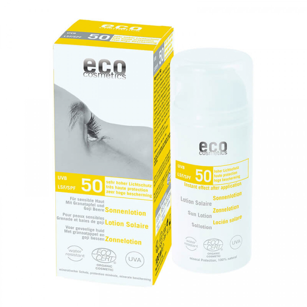 Lotiune fluida de protectie solara cu goji si rodie, FPS 50, Eco Cosmetics, 100ml