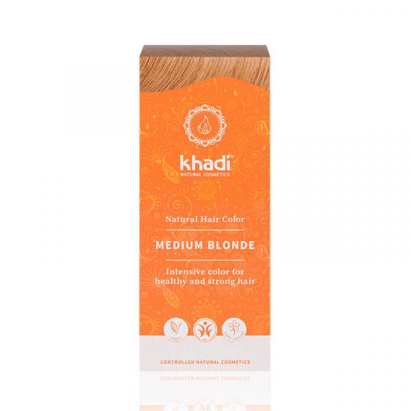 Medium Blonde, vopsea de par naturala - Blond Mediu, Khadi, 100g 0
