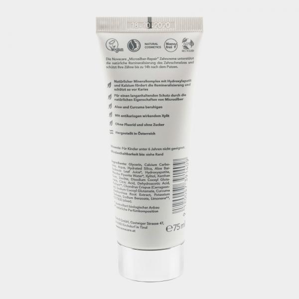 Pasta de dinti antibacteriana Repair, cu argint, Zeolith & Hydroxyapatite, Novacare, 75ml 2