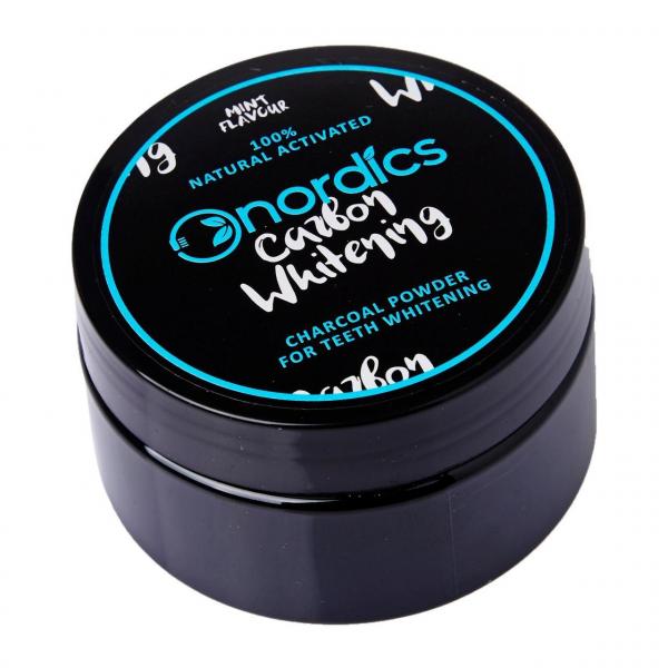 Carbune activ pudra pentru albirea dintilor, aroma de menta, 150 de folosiri, Nordics 0