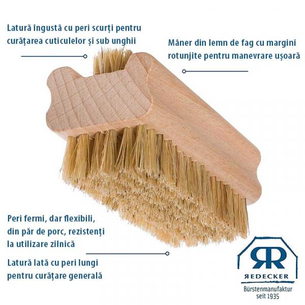 Perie naturala pentru curatarea unghiilor, peri moi, Redecker 1