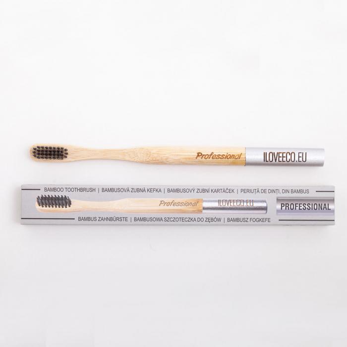 Periuță de dinți din bambus, Professional, peri foarte moi, I Love Eco 0