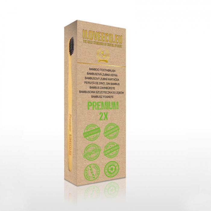 Periuță de dinți din bambus, Premium, pachet dublu, I Love Eco 1