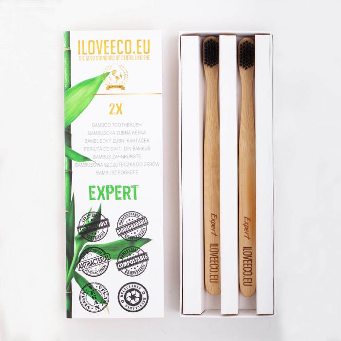 Periuță de dinți din bambus, Expert, pachet dublu, I Love Eco 0