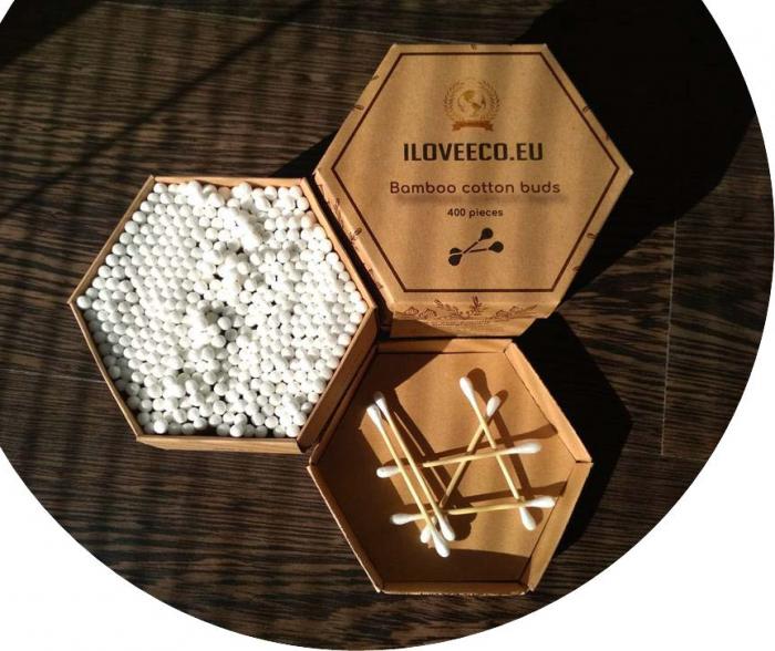 Bețișoare urechi din bambus și bumbac - cutie XXL 400 bucăți, I Love Eco 0