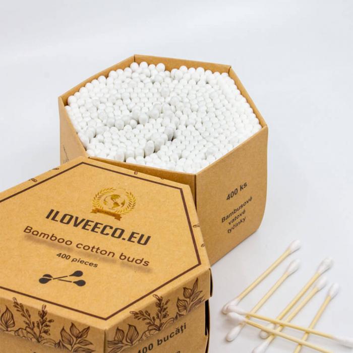 Bețișoare urechi din bambus și bumbac - cutie XXL 400 bucăți, I Love Eco 3