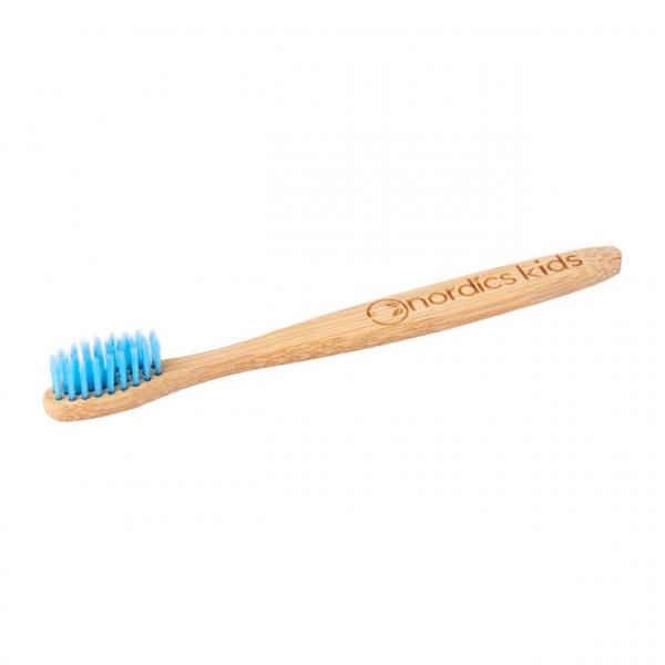 Periuta de dinti din bambus, pentru copii, Nordics - albastru 0