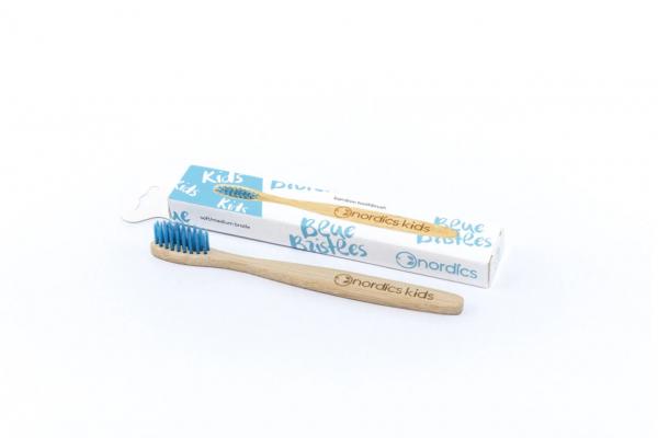 Periuta de dinti din bambus, pentru copii, Nordics - albastru 1