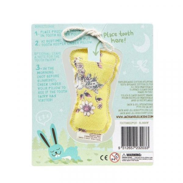 Săculeț din bumbac organic pentru păstrarea dinților de lapte, Bunny 1