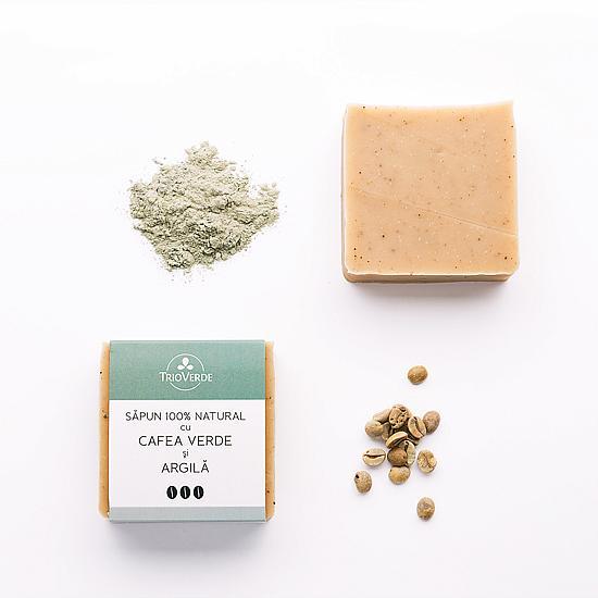 Sapun Natural cu Cafea Verde si Argila, Trio Verde, 110g 0
