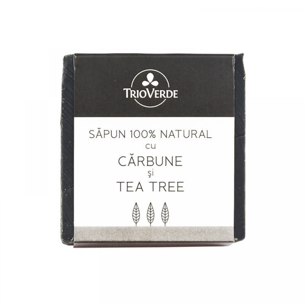 Sapun Natural cu Carbune si Tea Tree, Trio Verde, 110g 0