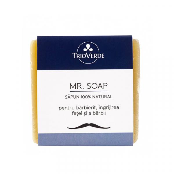 Sapun natural pentru barbierit, ingrijirea fetei si a barbii, Mr. Soap, Trio Verde, 110g 0