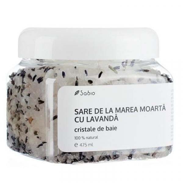 Sare de la Marea Moarta cu Lavanda- Cristale de Baie 100% Naturale, Sabio Cosmetics, 475 ml 0